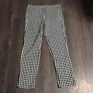 J. Jill B&W Gingham Essential Cotton Stretch Pants